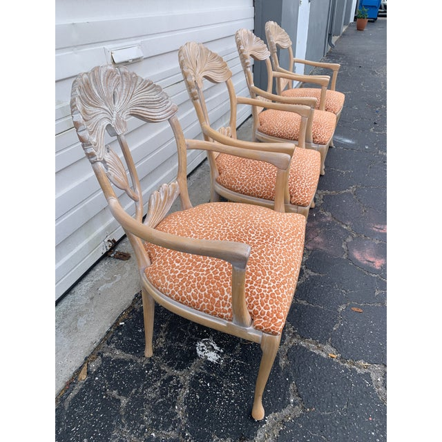 Traditional 1970s Vintage Lime Wash Floral Carved Dining Chairs in the Manner of Phyllis Morris - Set of Four For Sale - Image 3 of 10