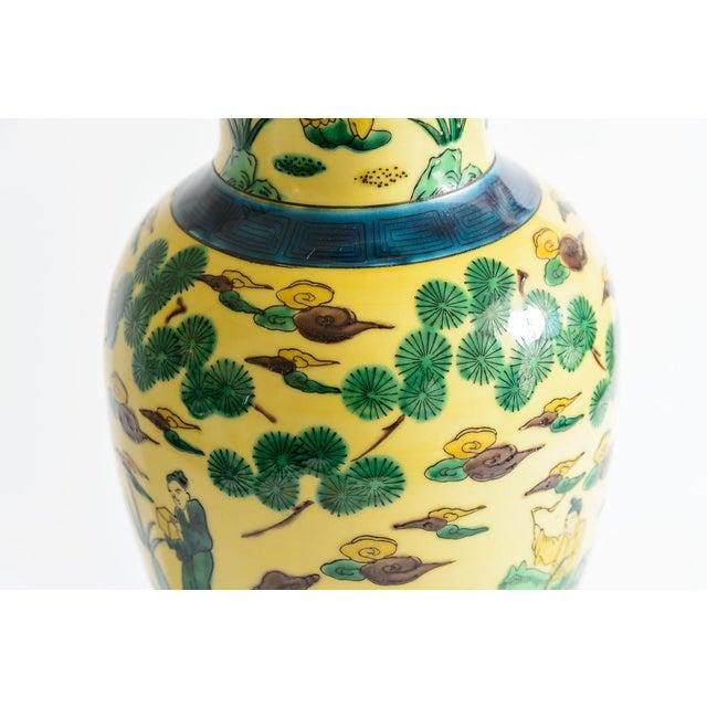 1940s Japanese Kutani Porcelain Vase Table Lamp With Custom Shade, C. 1940 For Sale - Image 5 of 13