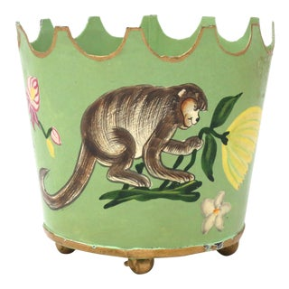 Vintage Light Green Hand-Painted Tole Monkey Planter For Sale