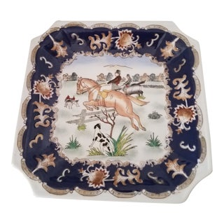 Vintage Porcelain Chinoiserie English Hunt Dresser Dish For Sale