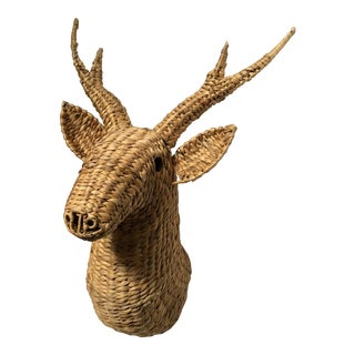 20th Century Boho Chic Wicker Deer Head Mount