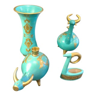 Iranian/Persian Turquoise Gold Pottery Decorative Pieces - 4 Pieces For Sale