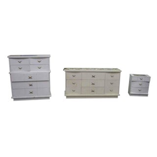 1970s Art Deco White Wood Dresser Set - 3 Pc. Set For Sale