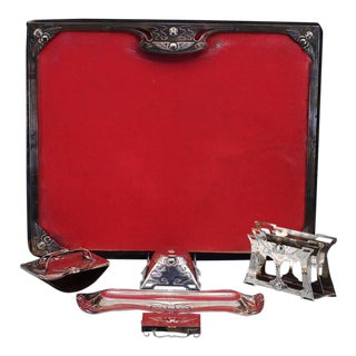 Late 19th Century English Egyptian Revival Six-Piece Sterling Silver Desk Set For Sale