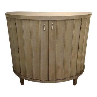 Drexel Heritage Transitional Fluted Silver Leaf Finished Wood Demi-Lune Cabinet For Sale