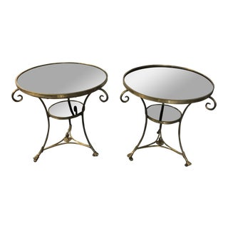 Neoclassical Black Marble and Brass Gueridon Tables - Pair