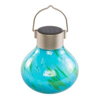 Outdoor Hand Blown Glass Solar Tea Lantern in Mint For Sale