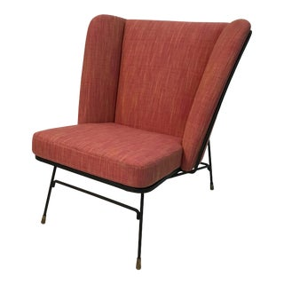 Mid-Century Modern Wrought Iron Upholstered Wingback Chair For Sale