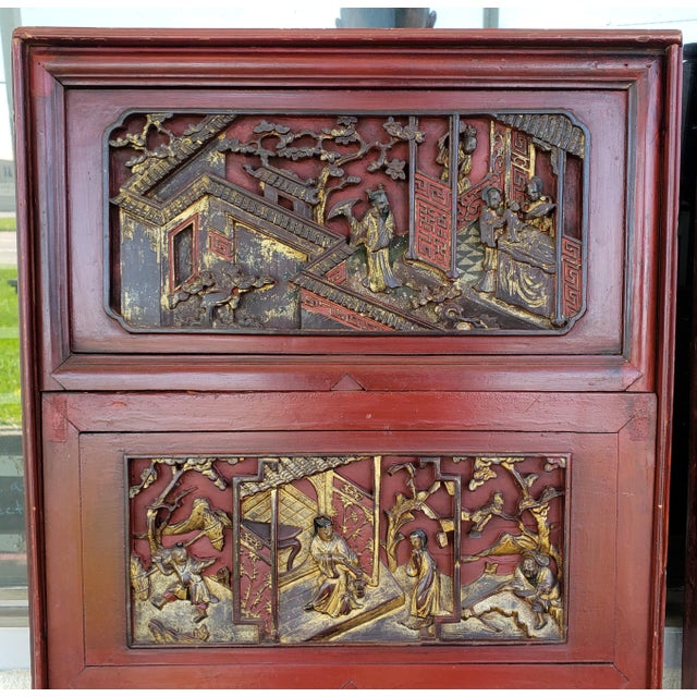 Chinese Late 19th Century Chinese Carved Gilded Lacquered Wood Imperial Court Motif Panels - a Pair For Sale - Image 3 of 9