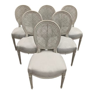 Early 20th Century Cane, Painted and Gray Velvet Lining Chairs - Set of 6 For Sale