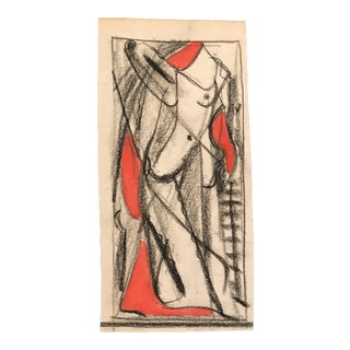 1950s Mid-Century Modern Abstract Nude Figure Drawing For Sale