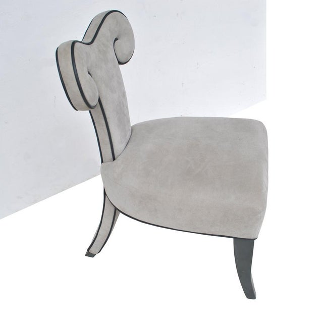 Pair of ram's head dining side chairs by Brueton, 1990s Rare pair of Brueton side/dining chairs in grey ultrasuede....