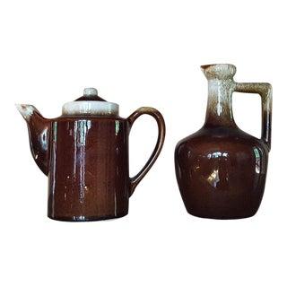 Vintage Glazed Teapot & Jug - A Pair