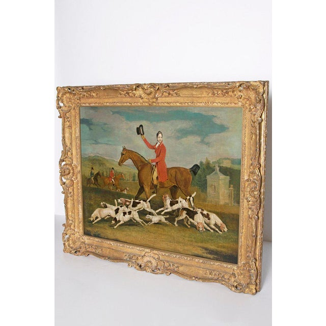 A realistic painting of a fox hunt in the manner of English artist Benjamin Marshall, (1767-1835). The rider is Francis...