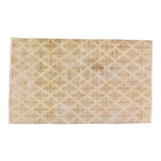 "Vintage Turkish Anatolian Hand Knotted Whitewash Organic Wool Fine Weave Rug,5'3""x9' For Sale"