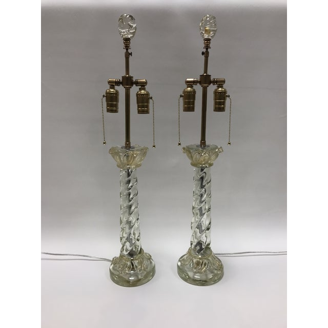 Mid-Century Barovier & Toso Murano Glass Lamps With Acanthus Glass Leafs - a Pair For Sale - Image 13 of 13