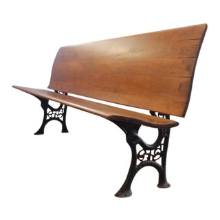 Early 20th C. Antique American School Bench For Sale