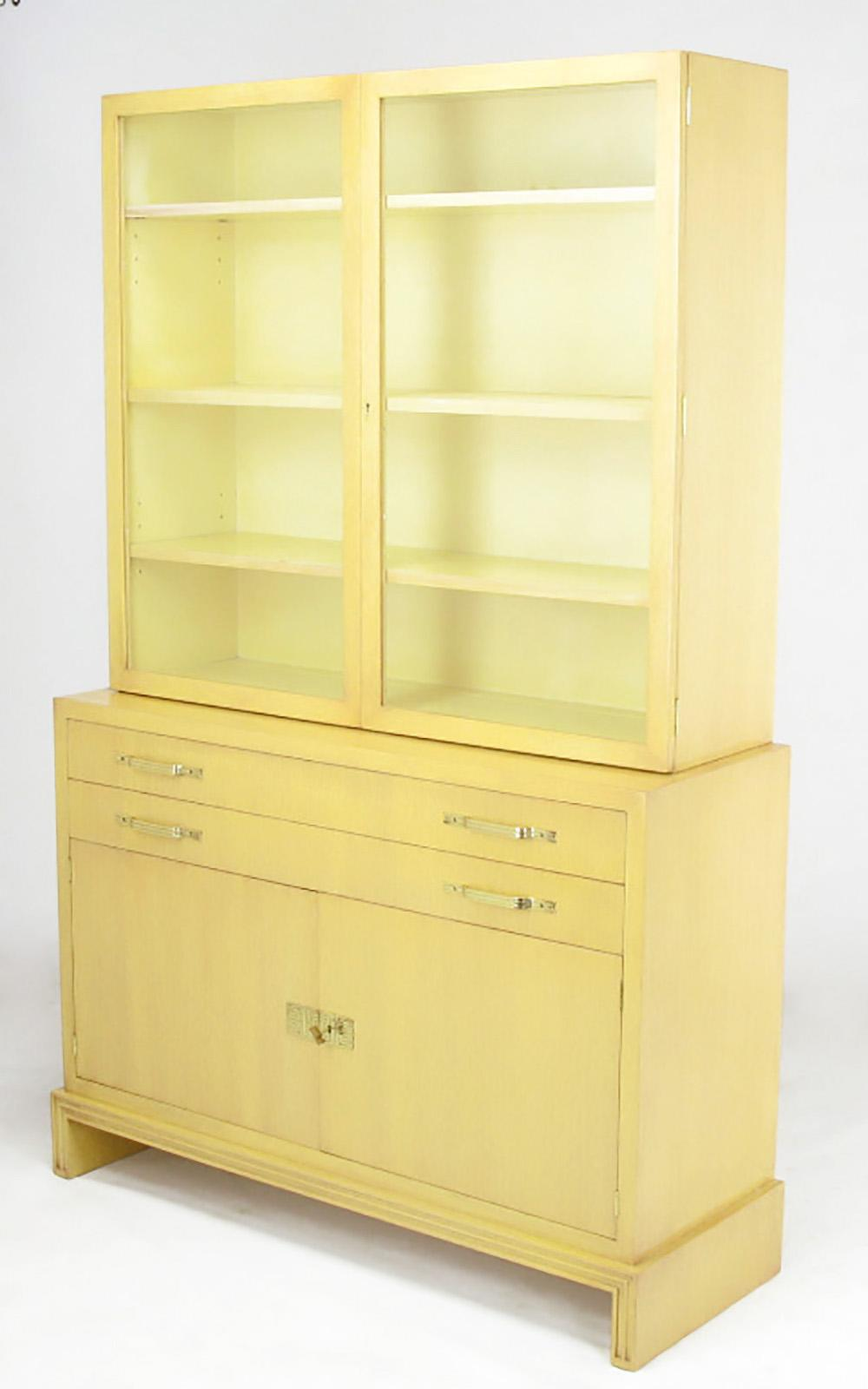 Restored Two Piece China Or Display Cabinet By Tommi Parzinger For Charak  Modern. Bleached Mahogany