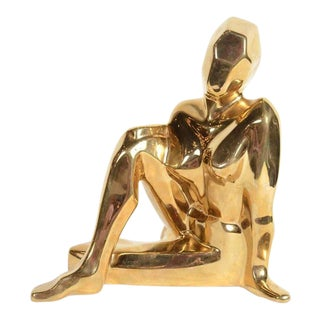 Mid-Century Modernist Ceramic Gold-Plated Crouching Woman Sculpture by Jaru For Sale