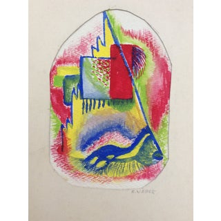 Mid-Century Modern Abstract Painting on Paper 1950s For Sale