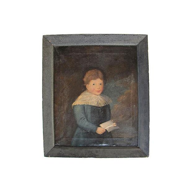 Antique 1827 Folk Art Portrait Painting of a Boy in Blue - Image 7 of 7
