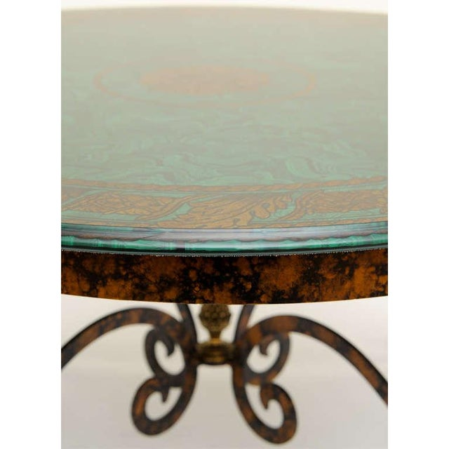 Green Fornasetti Style Glass & Metal Cocktail Table For Sale - Image 8 of 11