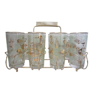 Vintage Mid-Century Drinks Caddy and Glasses - Set of 9 For Sale