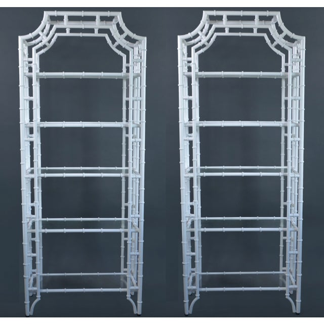 Fantastic vintage pair of faux bamboo, pagoda top, metal Étagères, these have been professionally powder-coated in a...