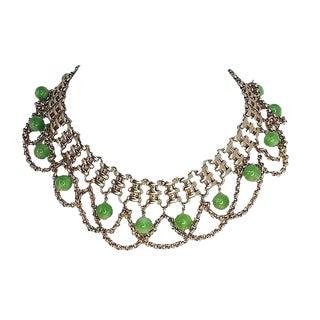 Napier Faux-Jade Festoon Necklace For Sale