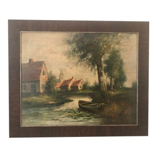 Early 20th Century European Village Scene Landscape Oil Painting For Sale