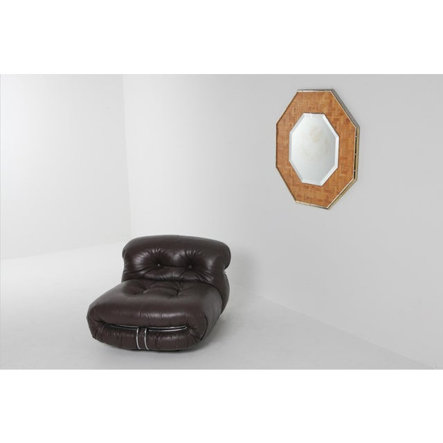 Hollywood Regency brass and bamboo mirror. Tropicalist mirror in the style of Gabriella Crespi, Vivai del Sud, Franco...