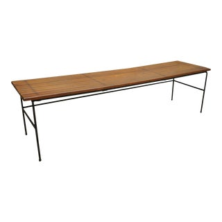 Vintage Mid Century Industrial Modern Iron and Wood Slat Wooden Bench For Sale