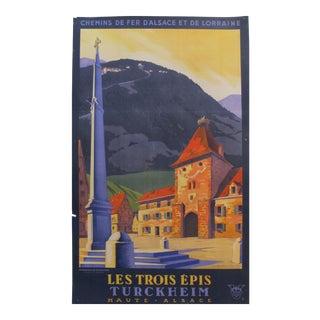 Original Vintage French 1930s Travel Poster, Les Trois Epis (Turckheim) For Sale