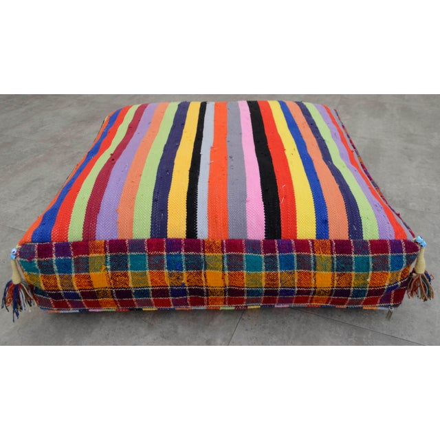 Turkish Hand Woven Kilim Floor Cushion - 30″ X 30″ - Image 8 of 10