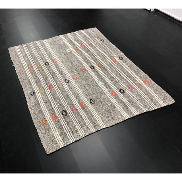 Natural Turkish handwoven antique vintage anatolian wool area Kilim. Perfect for a boho style home.