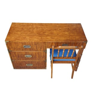 Dixie Mid Century Modern Campaign Desk & Chair For Sale