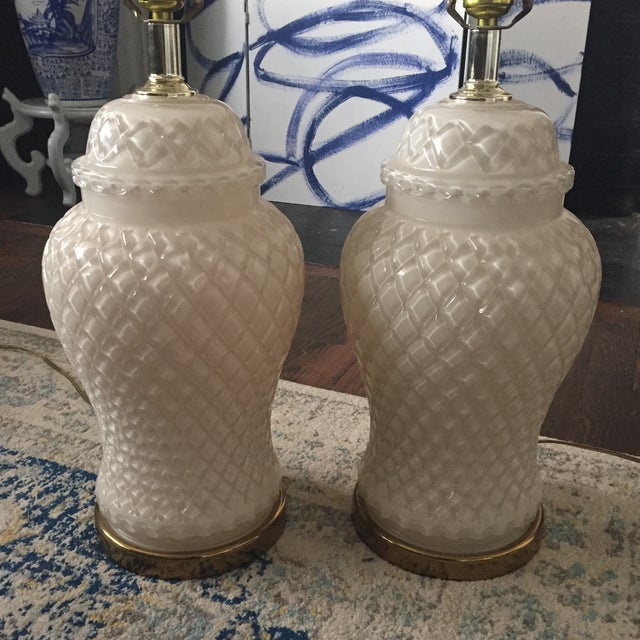 White Glass Quilted Ginger Jar Lamps - A Pair - Image 3 of 11