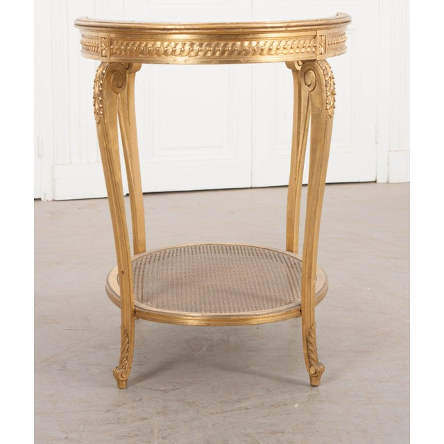 White French 19th Louis XVI Style Oval Giltwood Occasional Table For Sale - Image 8 of 13