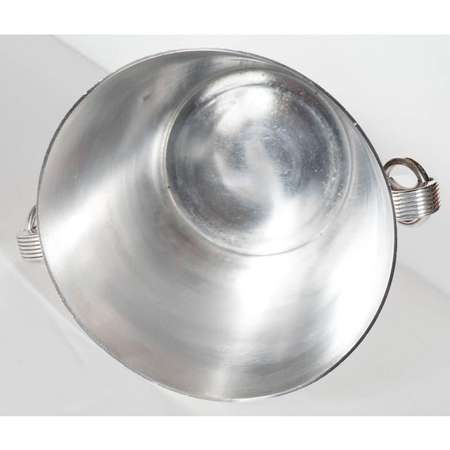 Silver Handsome English Art Deco Silver-Plate Ice Bucket with Stylized Ring Handles For Sale - Image 8 of 10