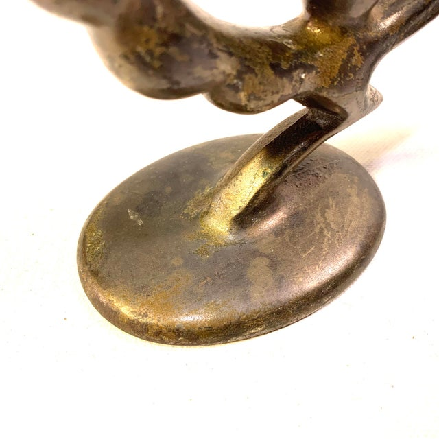 Early 20th Century Art Deco Bronzed Iron Peacock Candle Holders - a Pair For Sale - Image 5 of 7