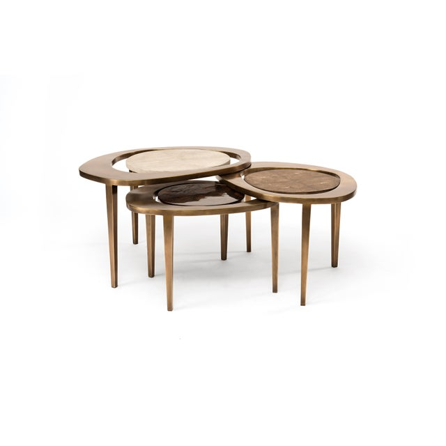 Peacock Nesting Coffee Table in Cream Shagreen and Brass by R&y Augousti For Sale In New York - Image 6 of 9
