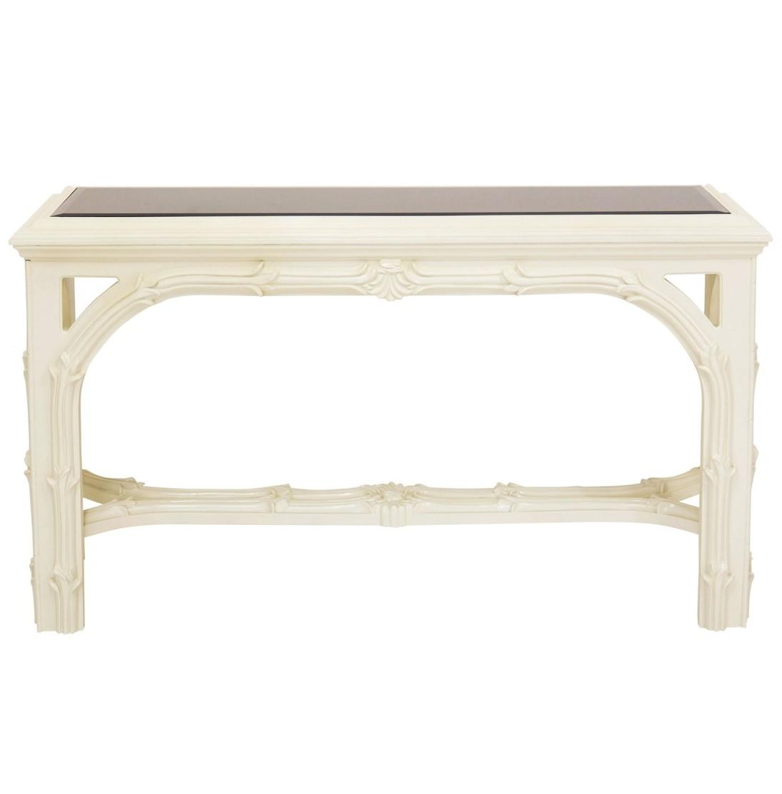 Mid Century Serge Roche Style Carved Ivory Console Table With Smoked Mirror  Top.
