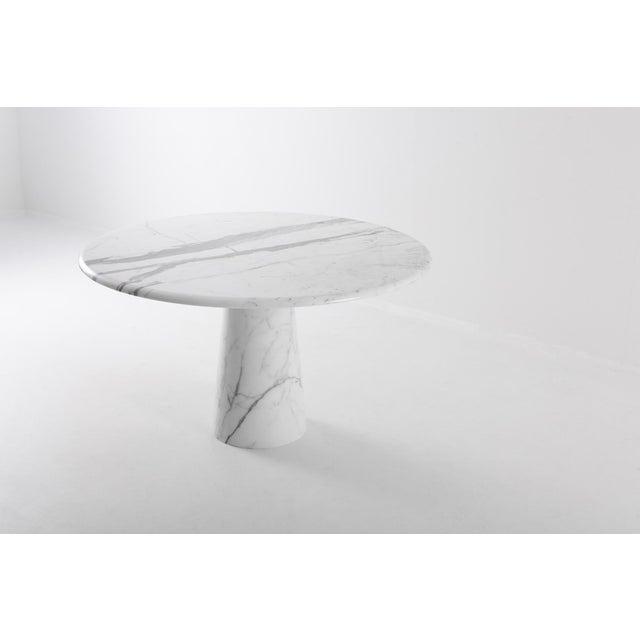 Italian Midcentury Round Italian Carrara Marble Dining Table For Sale - Image 3 of 13