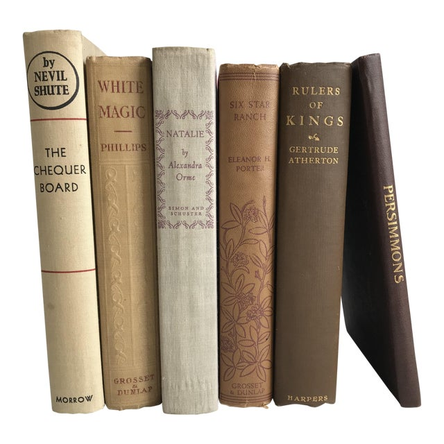 Antique Browns Books - Set of 6 For Sale