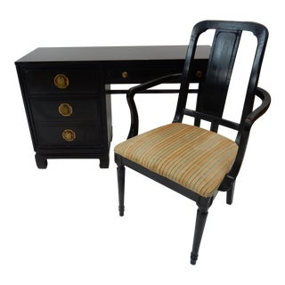 Davis Cabinet Company Chinese Ebonize Oak Desk & Chair For Sale