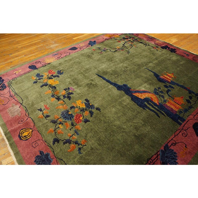Antique Chinese Art Deco Rug- 8′ × 9′6″ For Sale - Image 4 of 5