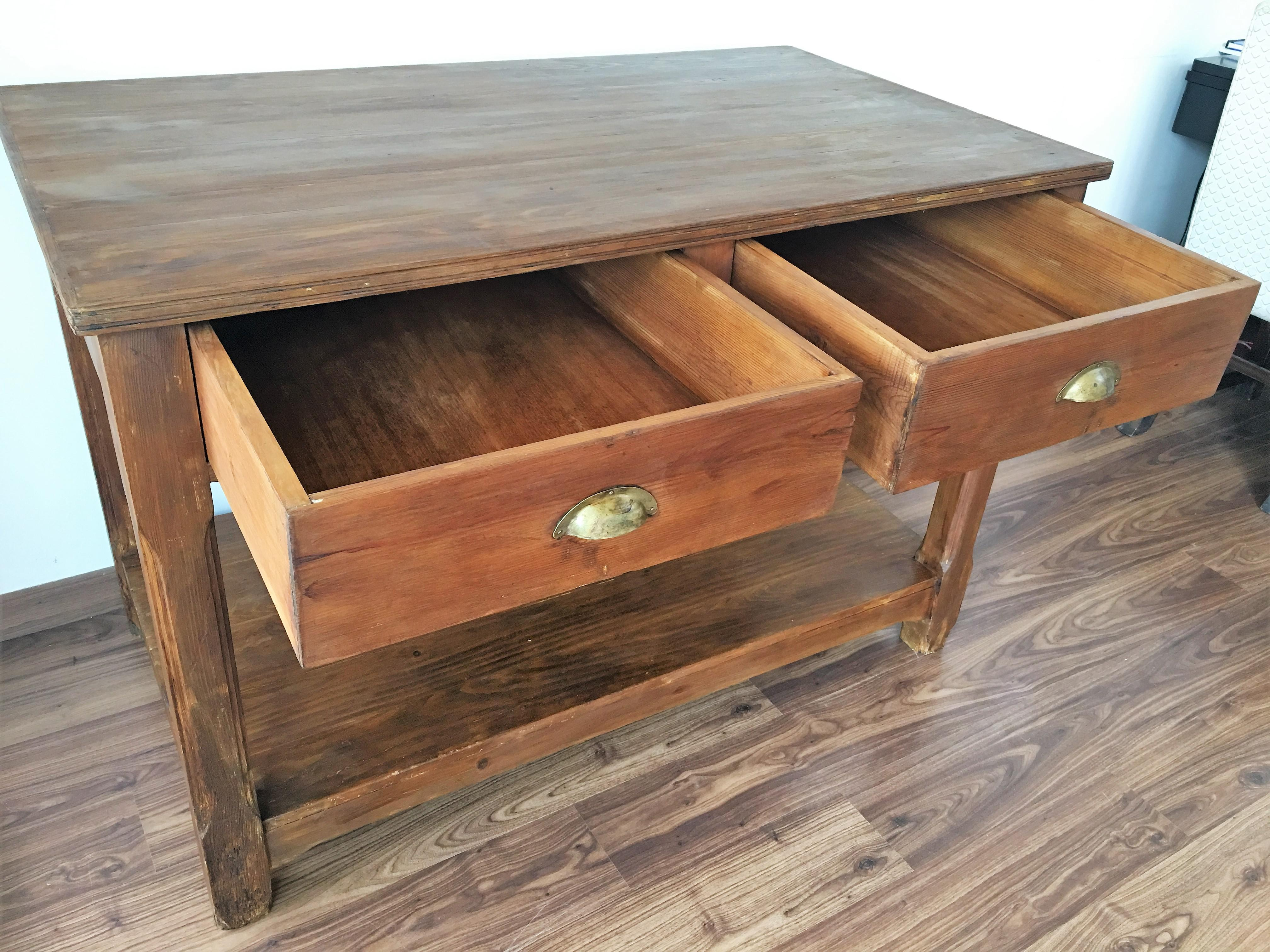 Beau Pine 20th Century Pine Kitchen Table, Country Farm Table With Two Drawers  For Sale