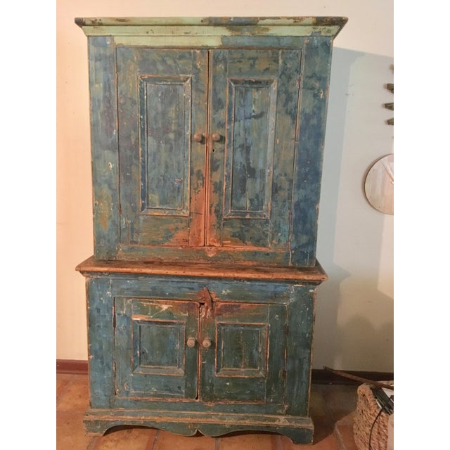 Mid 19th Century Antique Blue Step Back Cupboard For Sale - Image 9 of 9