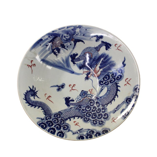 Ceramic Chinese Blue White Dragon Painting Porcelain Charger Plate Bowl For Sale - Image 7 of 9