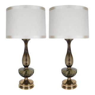 Mid-Century Modern Pair of Table Lamps in Handblown Murano Glass, circa 1960 For Sale